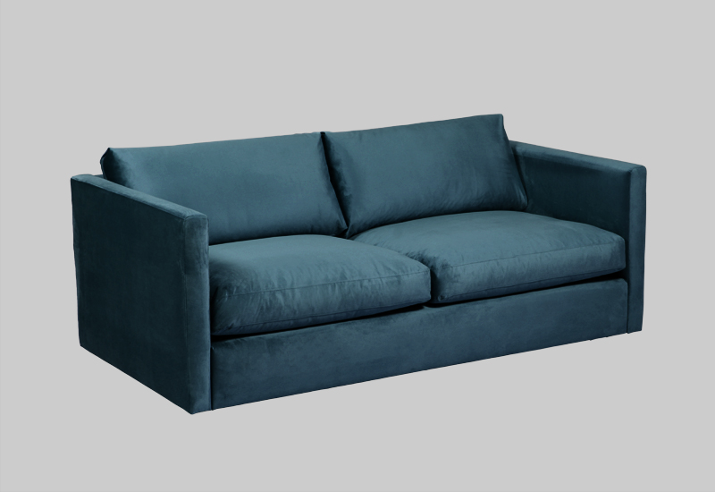 Layered modern petrol velvet sofa