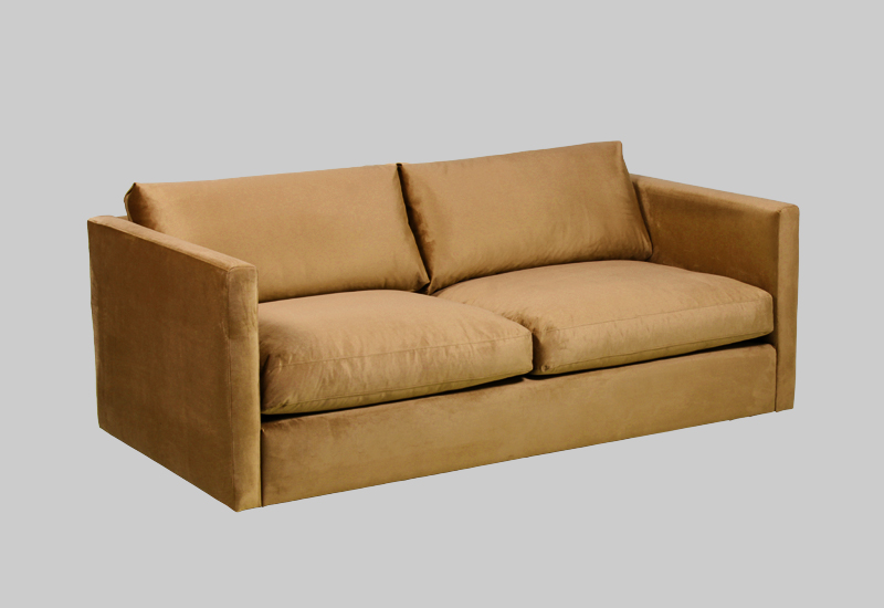 Layered modern yellow golden velvet sofa