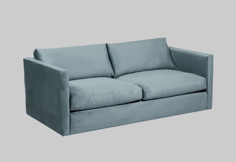 Layered modern blue turquoise velvet sofa