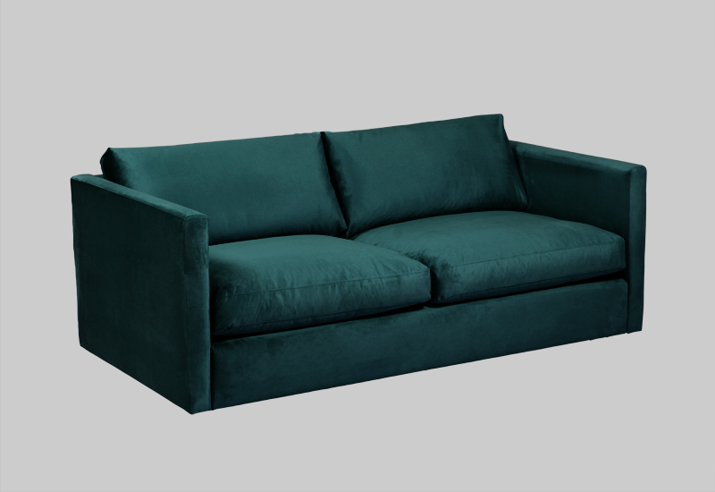 Layered modern green velvet sofa