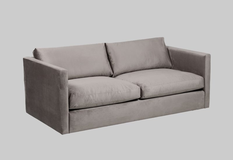 Layered modern beige velvet sofa