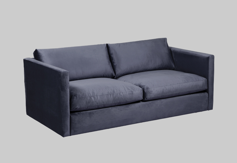 Layered modern blue velvet sofa