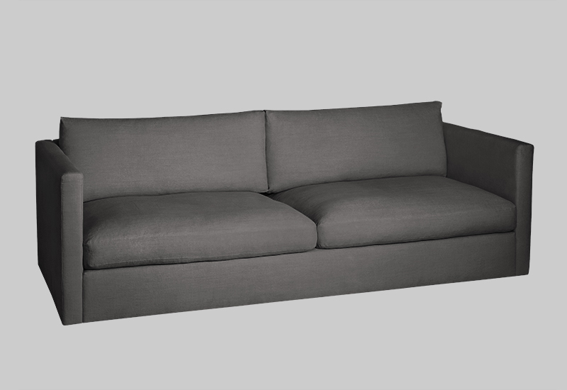 Layered modern gray brown linen sofa
