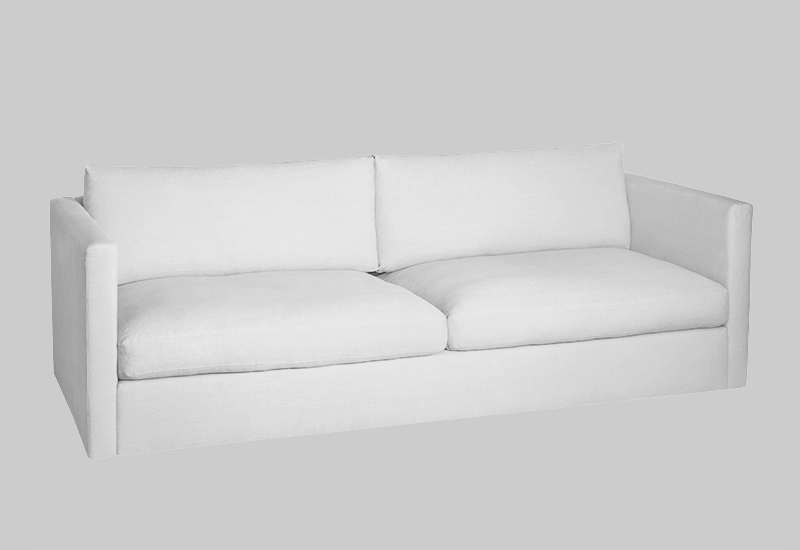 Layered modern white linen sofa