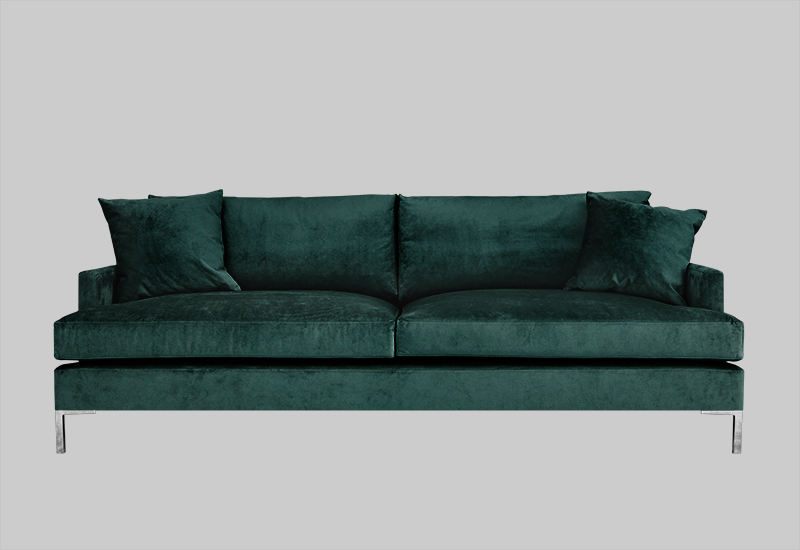 Layered modern elegant green velvet sofa