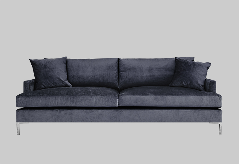 Layered modern elegant blue velvet sofa
