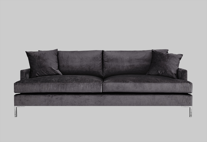 Layered modern elegant gray velvet sofa