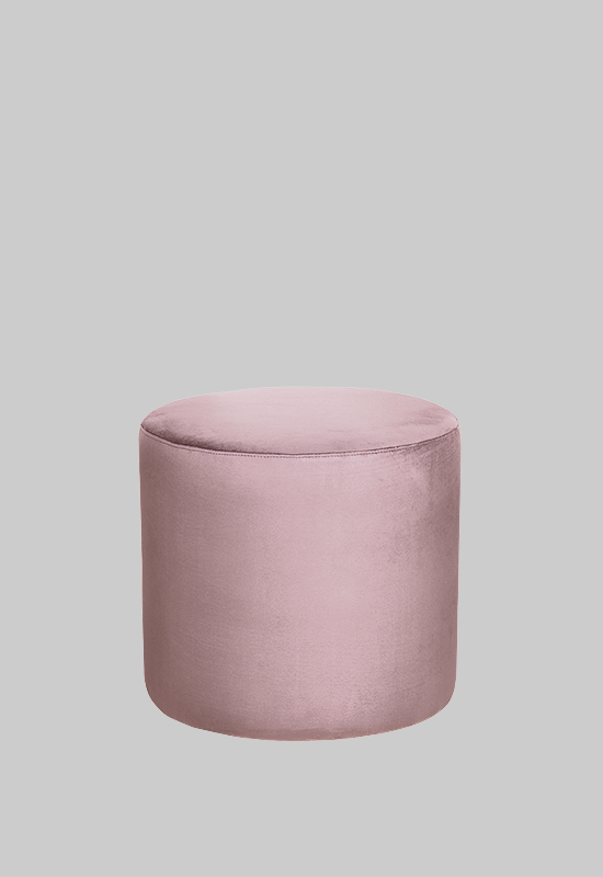 Layered pouf footstool in bedroom