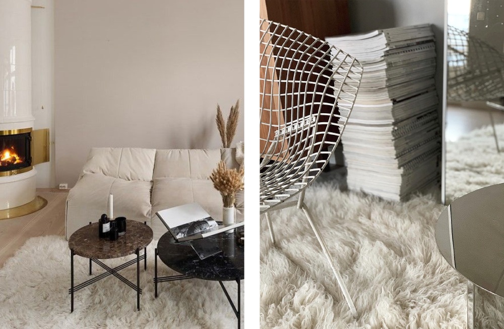 Layered Shaggy Rug Off White
