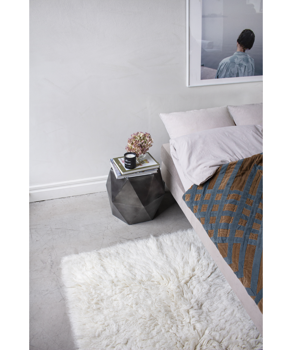 Layered Shaggy Bedside Rug Off White