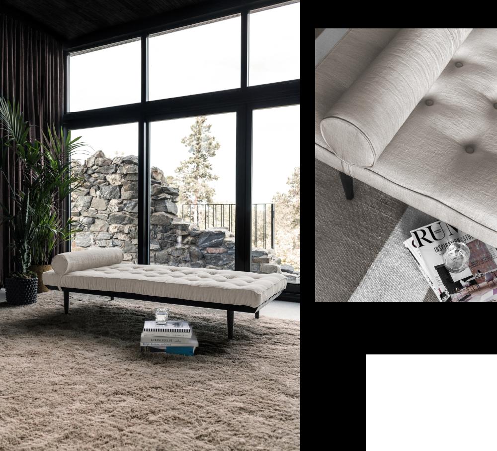 Elegant modern ljus beige linnedagbädd och ryamatta från Layered