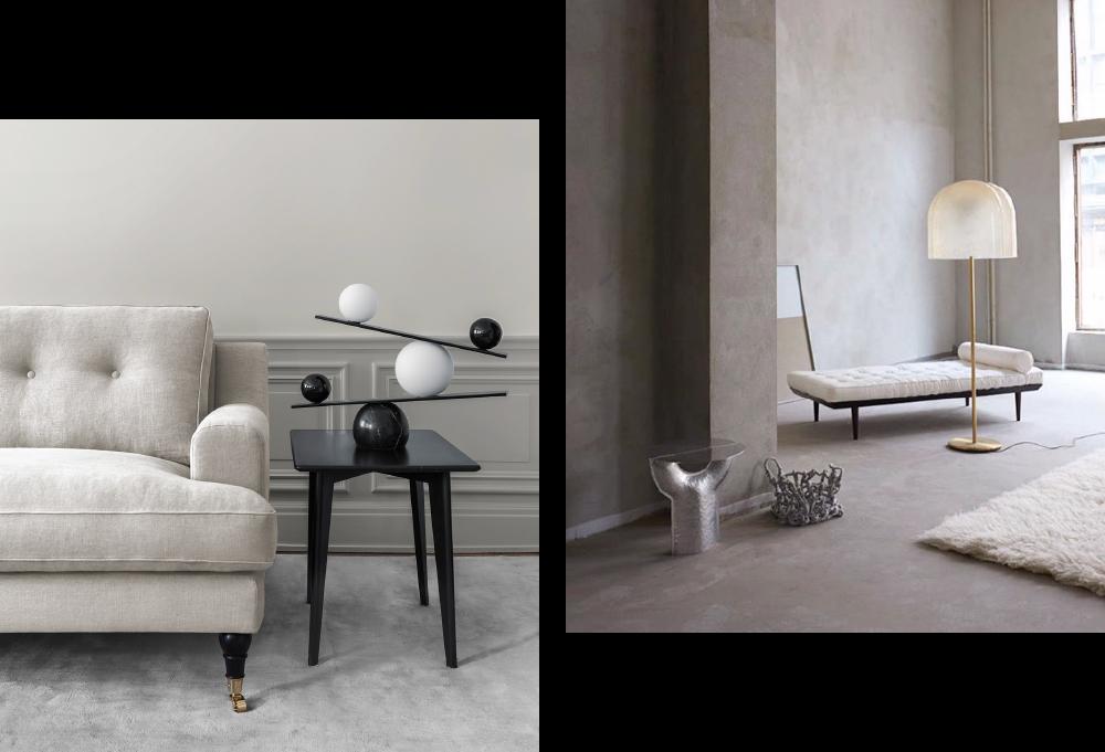 Elegant klassisk beige linnesoffa och enfärgad handvävd matta i vardagsrum från Layered