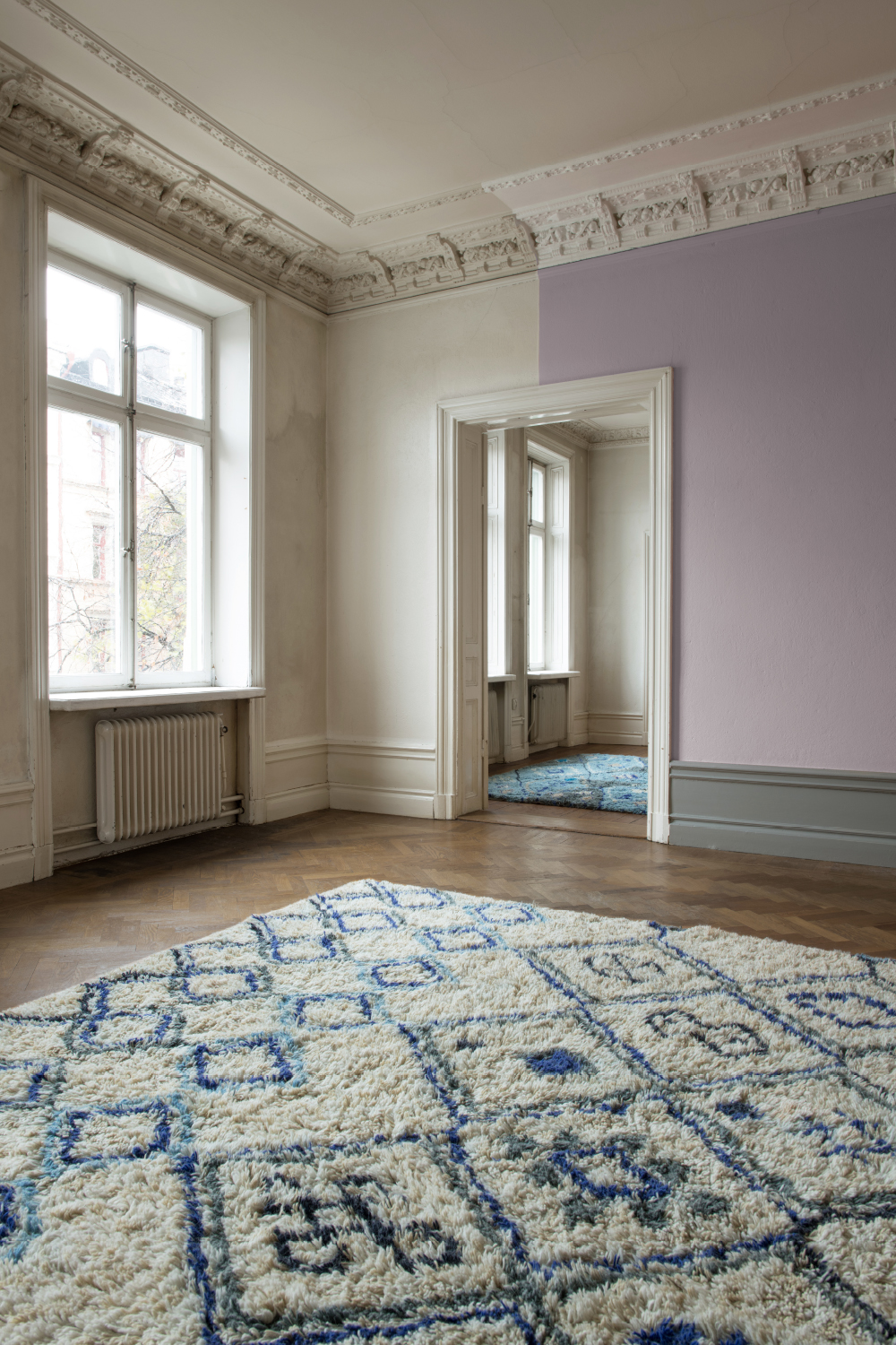 Layered patterned modern oriental wool rug