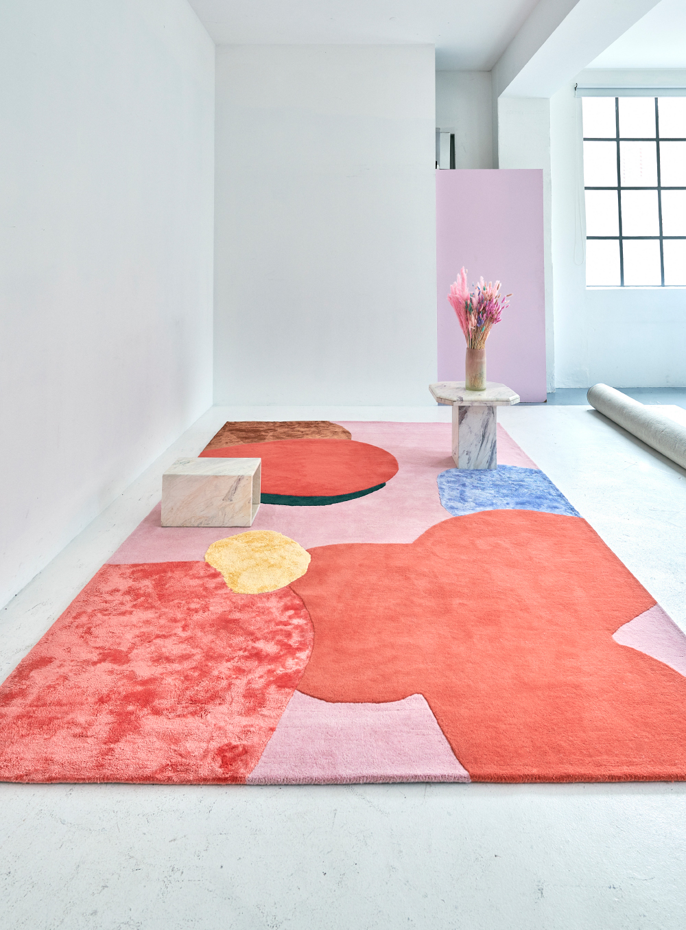 Layered Poppykalas colorful flower abstract wool rug