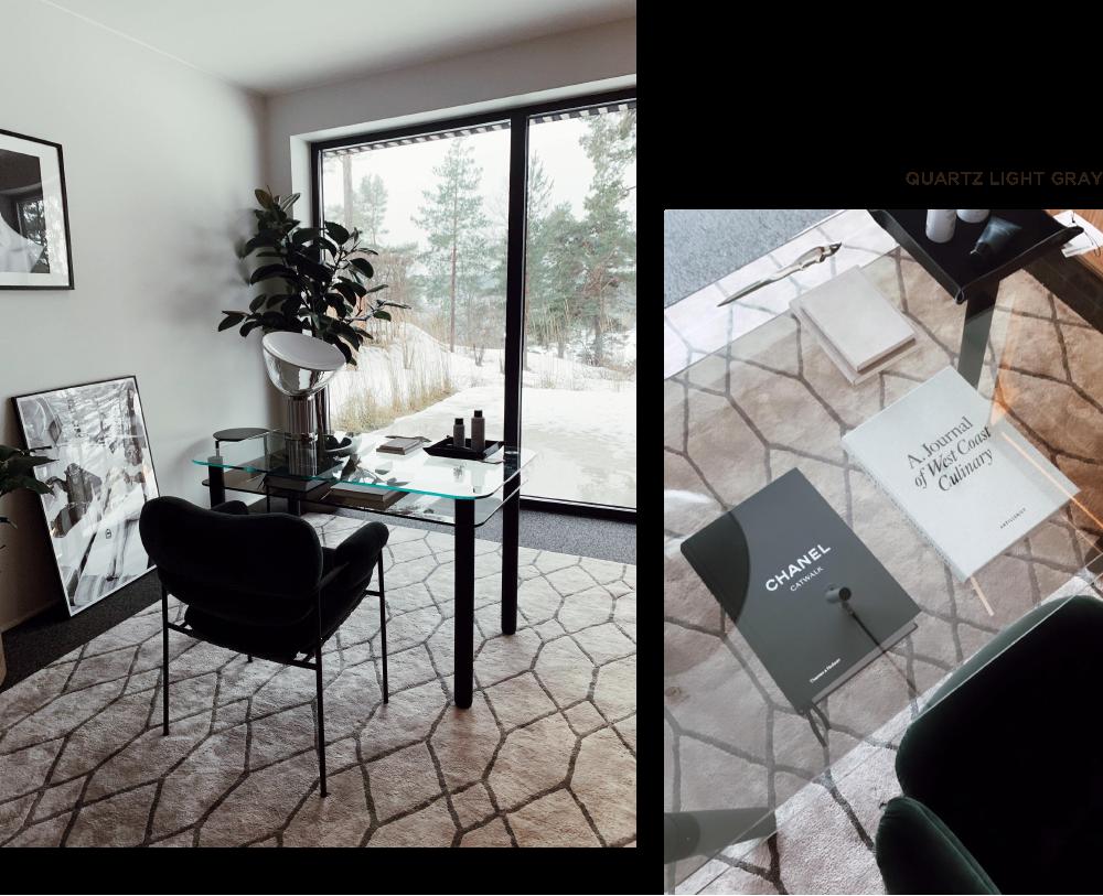 Elegant grå mönstrad viskosmatta i kontor