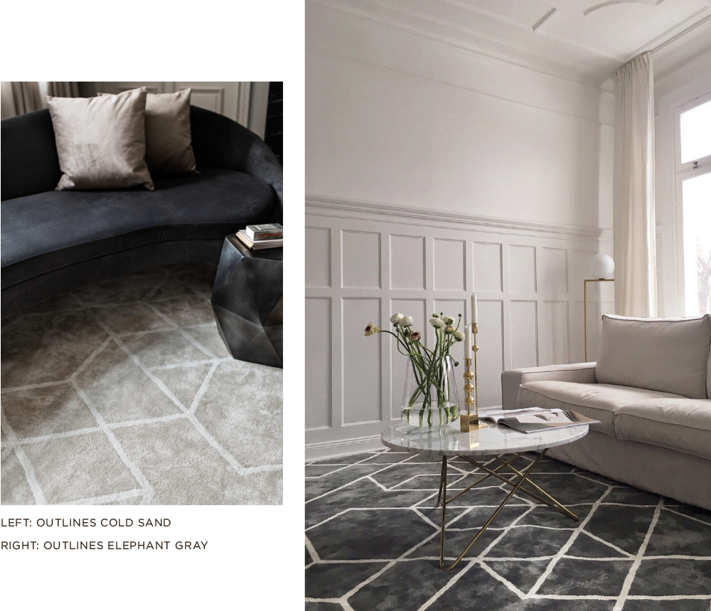 Layered patterned gray and beige viscose rug in living room