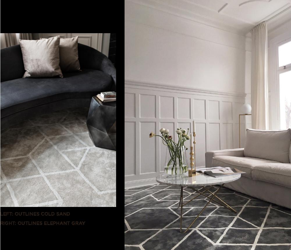 Beige och grå grafisk mönstrad viskosmatta från Layered i vardagsrum