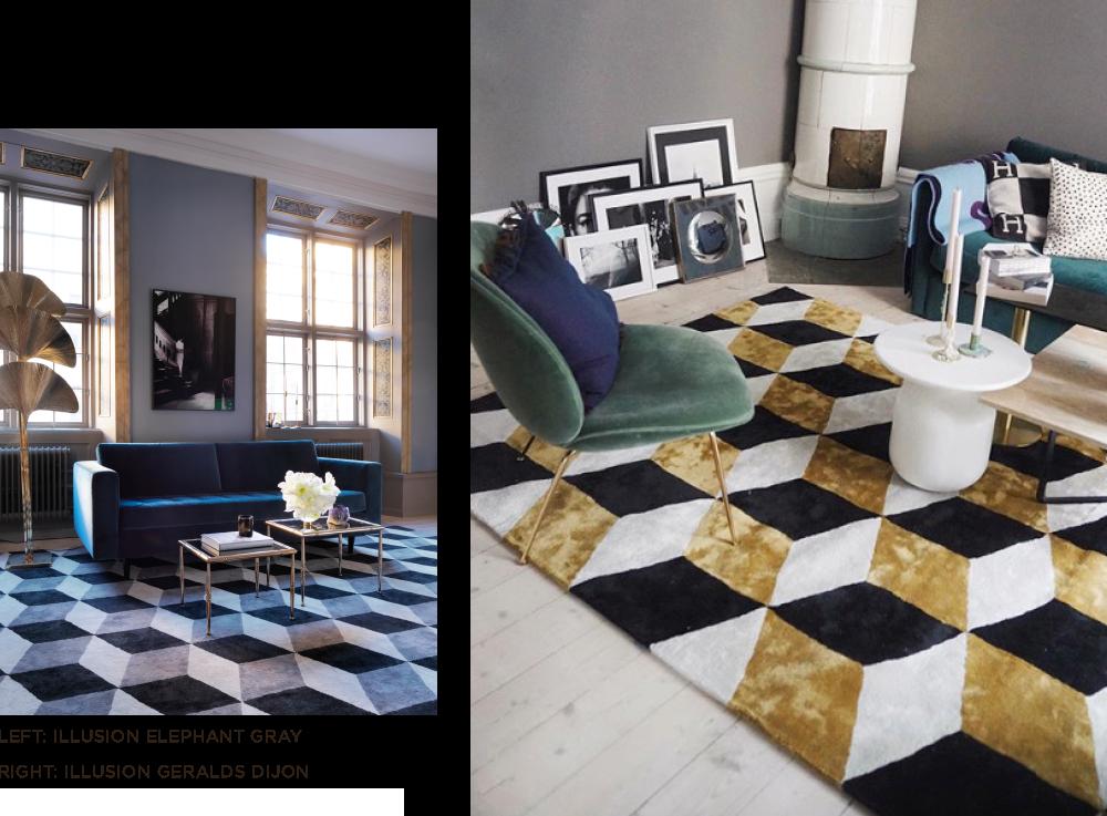 Grafiskt mönstrad viskosmatta från Layered i art deco inspirerat vardagsrum