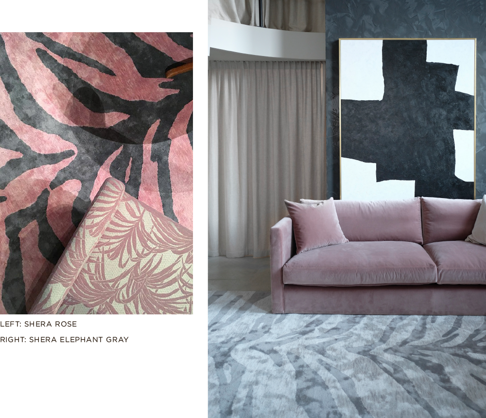 Layered patterned gray and pink viscose rug in living room