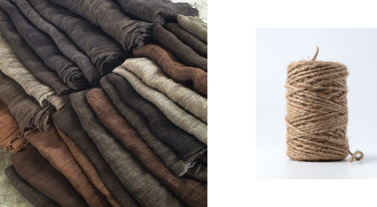 natural fabric and roll of twine