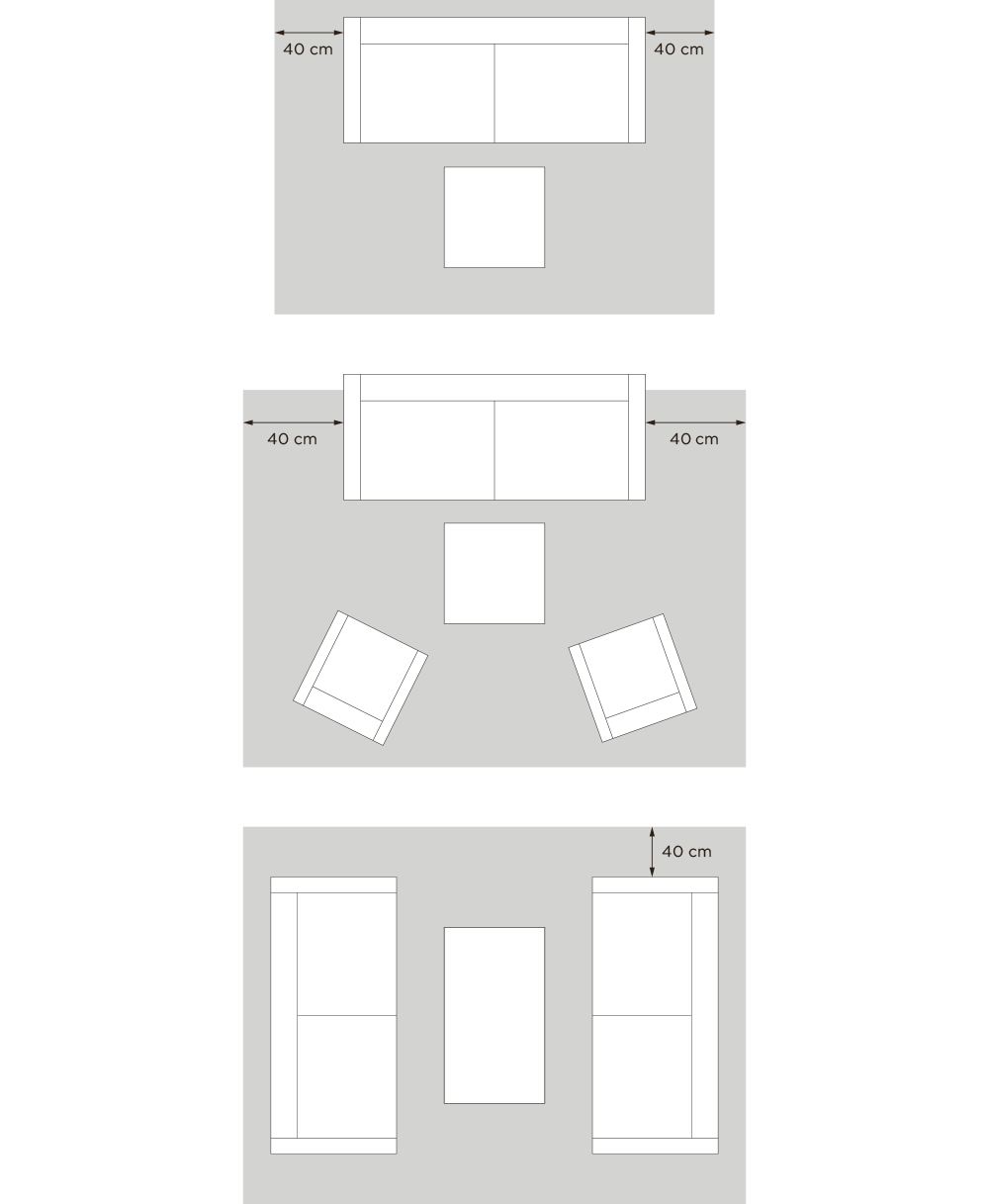 Layered style advice for the size of the rug and sofa in living room and different placements